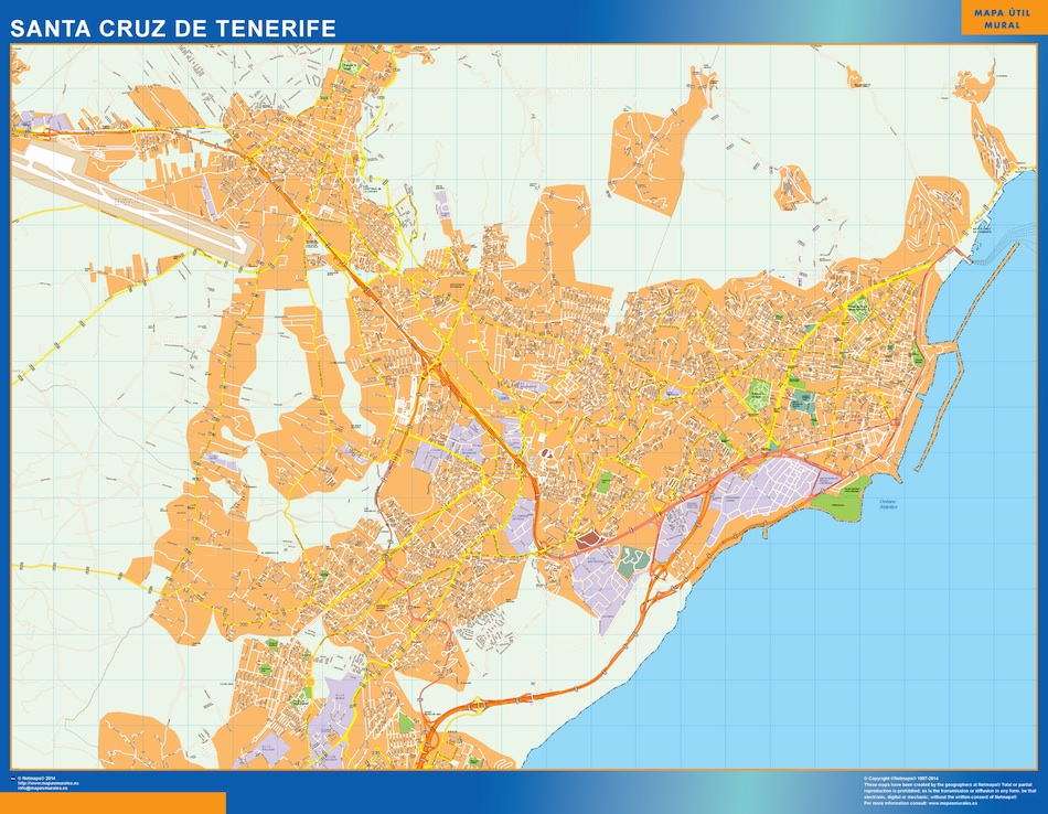 Map Of Santa Cruz Tenerife Spain Africa Wall Maps