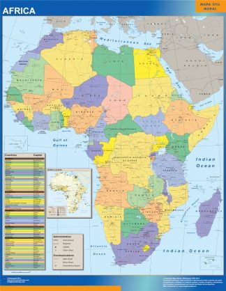 africa political wall map